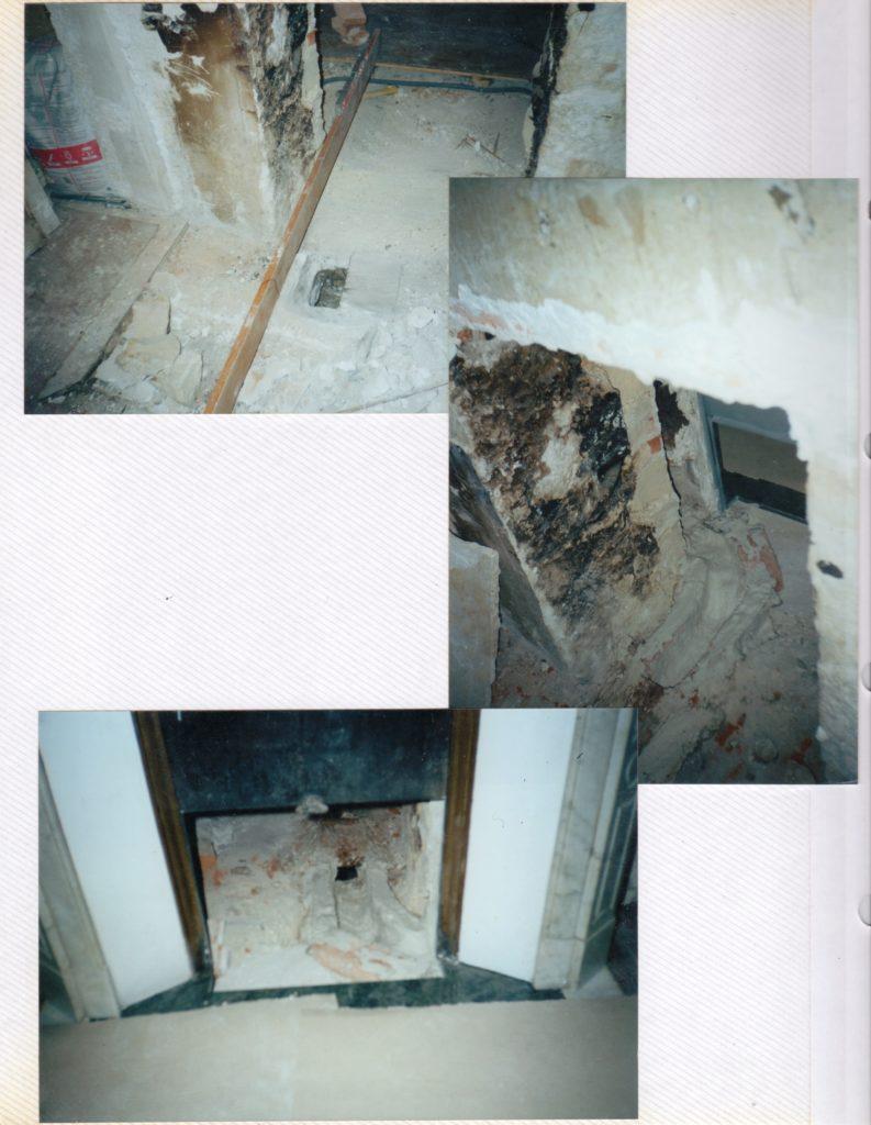 Chantal. Déplacement de la cheminée, appartement, Dijon, 2001