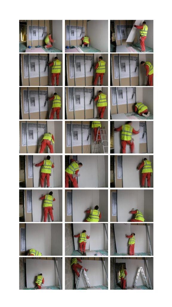Marie-Jeanne Hoffner, «Hide the Image, appatement # 2», Cabot Circus Construction Site, Bristol, UK, 2008. Pour BS1-Project, sur une invitation de Neville Gabie.